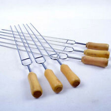 Stainless Steel Wood Handle BBQ Skewers Stick Grill Barbecue Roast Needle