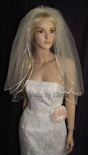 "Wedding Bridal Veil Elbow 3 Tiers  24"" 26"" 28"" Length Colored Ribbon Edge"