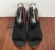 DONALD J PLINER Black Criss Cross Stretch Fabric W/ Brown Leather Womens Sz 10M