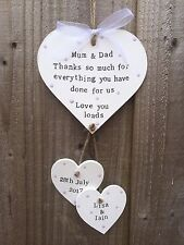 Personalised Wooden Plaque Sign Heart Wedding Mum And Dad Thank you Gift Present