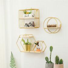 Nordic Iron Storage Rack Shelf Wall Hanging Geometric Figure Home Wall Decor