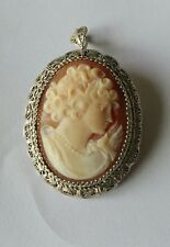 ANTIQUE STERLING SILVER FILIGREE CARVED CAMEO BROOCH