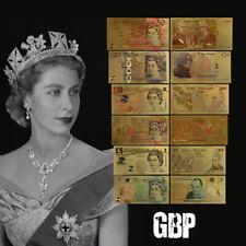 WR 6PCS England Coloured Pound Gold Banknote UK Regalos