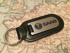 SAAB  Key Ring Etched and infilled On Leather 9-3 9-5 900 90