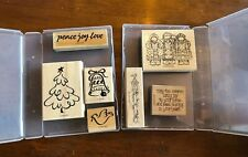 Stampin Up Christmas Stamps Set Of 7 Tree Bell Dove Peace Joy Love