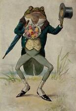 FROG GOING COURTING, HUMANIZED, TOP HAT, BOUQUET FROM VINTAGE POSTCARD, MAGNET