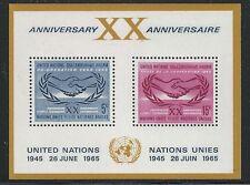 United Nations Scott #NY 145, Souvenir Sheet 1965 FVF MNH