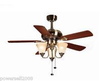 1009D European Bronze 42 Inches 3 Lights D106 CM Rope Control Ceiling Fans Light