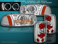 2000 2001 2002-2006 GMC DENALI YUKON XL HEADLIGHTS LED HALO TAIL LIGHTS CHROME