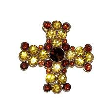 BROOCH/PIN/PENDANT Gold & Topaz Color Rhinestones DAZZLING CELTIC CROSS