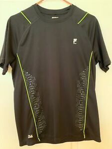 Men's FILA Black w Lime Green Dri-Fit Shirt (S)