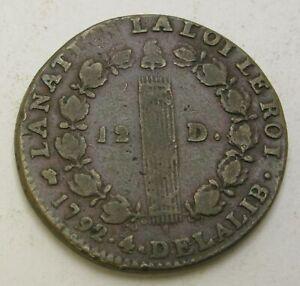 FRANCE 12 Deniers 1792 D - Bronze - Louis XVI. - 2623