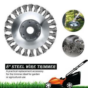 """8"""" Grass Strimmer Head Trimmer Brush Solid Steel Wire Wheel Weeding Derusting"""