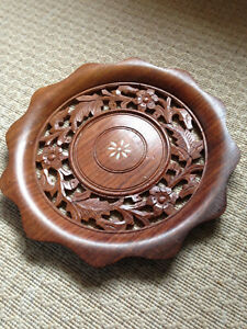 Indian Hand Carved Wooden Plate w/ Bone Inlay Floral Carving