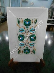 "6""x9"" Marble White Tray Malachite Floral Inlay Art Handmade Home Decors E1400"
