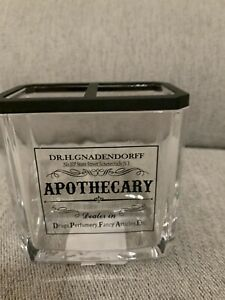 HOTEL BALFOUR BLACK APOTHECARY GLASS APOTHECARY BATHROOM TOOTHBRUSH HOLDER NEW