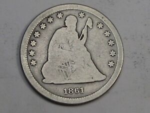 Civil War Era 1861 Seated LIBERTY Quarter. #33