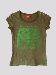 NWOT Oilily Olive Green T-shirt Size XS Green Shimmer OWL Cotton