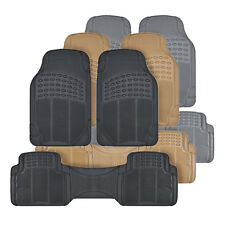 Classic Rubber Car Floor Mats and Row Liner - Trimmable All Weather 3pc