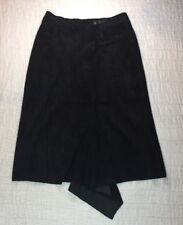 PAP KIK PARIS Suede Skirt SZ 44 Black Below Knee A Line Made France