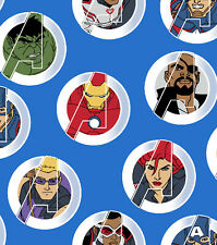 Marvel Comics AVENGERS UNITED BADGE Blue Cotton Fabric #15298375 BTY