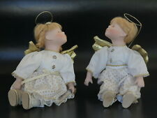 Pair of Angels – Blond Boy & Girl Porcelain Sitting Dolls c. 24cm/9""