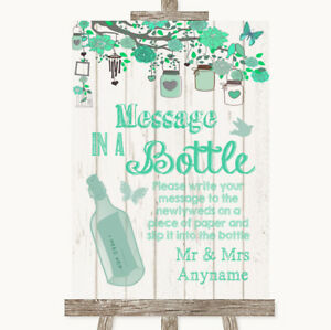 Wedding Sign Poster Print Green Rustic Wood Message In A Bottle