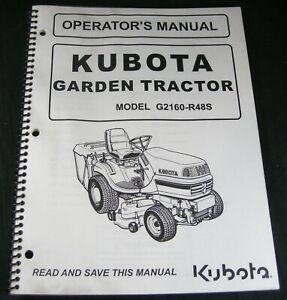 Kubota G2160-R48S Garden Tractor Lawn Mower Operator Maintenance Manual Book OEM