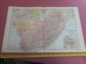 100% ORIGINAL LARGE SOUTH AFRICA CAPE TOWN MAP  BY G  BACON C1912 VGC