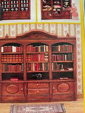 Vintage Dollhouse Germany Miniature Wood Wide Bookcase Furniture Kit Mini Mundus