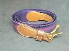 Dooney & Bourke Blue Wool Surcingle Belt Leather Trim Brass Buckle 6933 32