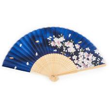 Bleu fleur de cerisier japonais pliable ventilateur