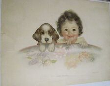 Adorable Charlotte Becker Vintage Print w/ Baby & Doggie Hiding Behind Chair *
