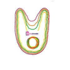 4 Long Fluorescent Perles Collier & 12 gommeux Années 80 Disco Rave Enterrement Vie Jeune Fille Accessoire