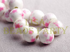 New 10pcs 12mm Round Porcelain Ceramic Findings Loose Spacer Big Hole Beads Pink