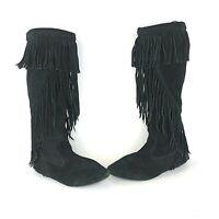 Sam Edelman Womens Size 8 M Utah Black Suede Fringe Flats Pull On Boots