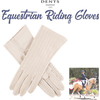 Dents Women's Equestrian Riding Gloves Leather & Silk Lining Horse Riding Cream