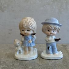 2 Vintage Porcelain Figurines Boy and Girl Japan 1970s Cute Couple Children Blue