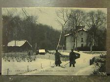 cpa 69 lyon sous la neige parc de la tete d'or l'observatoire animee *