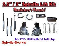 """1997 - 2003 Ford F-150 F150 2WD 5.5"""" / 2""""  Spindles blocks LIFT KIT + SHOCKS"""