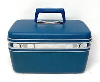 Vintage Samsonite Royal Traveller Blue Train Case Suitcase Luggage w/ 1 KEY