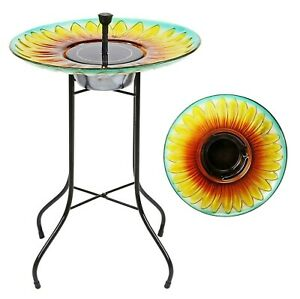 Solar Sunflower Glass Bird Bath Fountain Outdoor Garden Decoration Water Feature