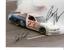 Autographed Eddie Bierschwale, Ben Hess NASCAR Auto Racing Photograph