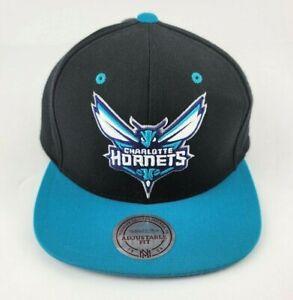 Charlotte Hornets NBA Mitchell Ness Black Blue SnapBack Hat Cap Vintage