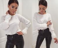 Women White Gathered Long Sleeve Blouse Oversized Loose Top Casual Elegant Shirt