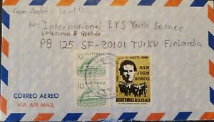 A) 1988, GUATEMALA, MIGUEL ANGEL ASTURIAS CULTURAL CENTER, LETTER SHIPPED TO TUR