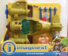 NIB Fisher-Price Imaginext Bi-Plane Bomber Plane Playset Toy