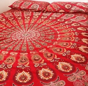 Indian Cotton Peacock Mandala Hand Printed Sham Red Pillow Cover Home Decor