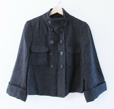 Mexx Size 10 Grey Wool Blend Cropped Wide Sleeve Double Breasted Lined Jacket