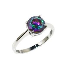 Geniune 925 Sterling Silver Rainbow Mystic Topaz Gemstone Ring Size R SL-4335